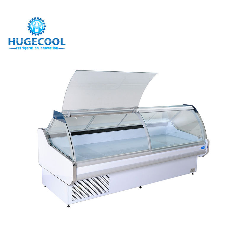 Supermarket Commercial Display Fridges , Refrigerated Display Cabinet With Double Glass Door